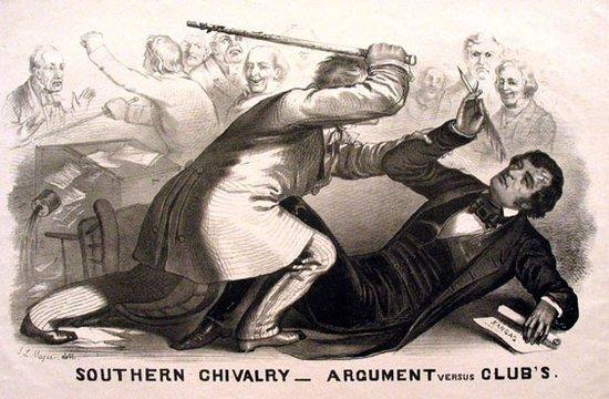 Preston Brooks and Charles Sumner fight