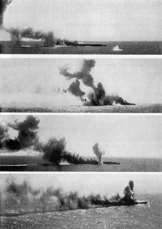 Sinking of carrier Shoho during Battle of Coral Sea 1942