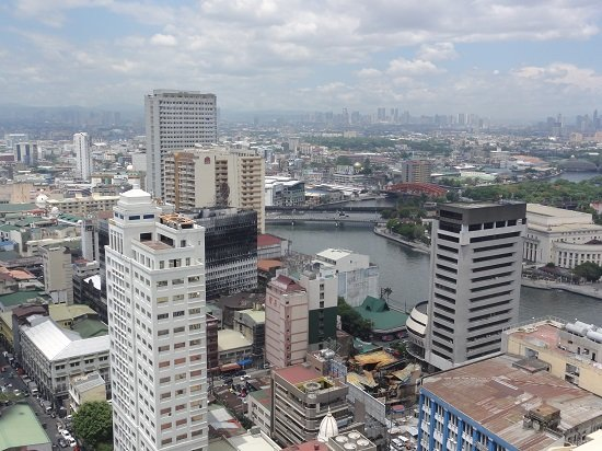 A picture of downtown Manila taken from the World Trade Exchange Tower in 2015.