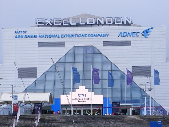A picture of the main entrance of the NHS Nightingale Hospital, a temporary hospital set up at the ExCel convention centre in London.