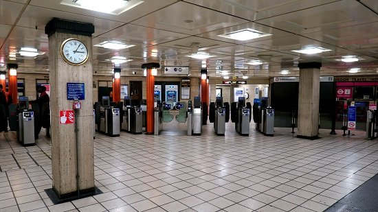 A picture of a nearly-empty Piccadilly Circus tube station in London during lockdown.